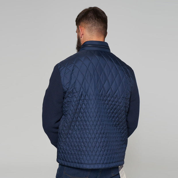 Yachting Quilted Jacket with Contrast Wool Sleeves in Navy Blue - back
