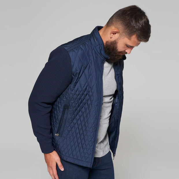 Yachting Quilted Jacket with Contrast Wool Sleeves in Navy Blue - close up side