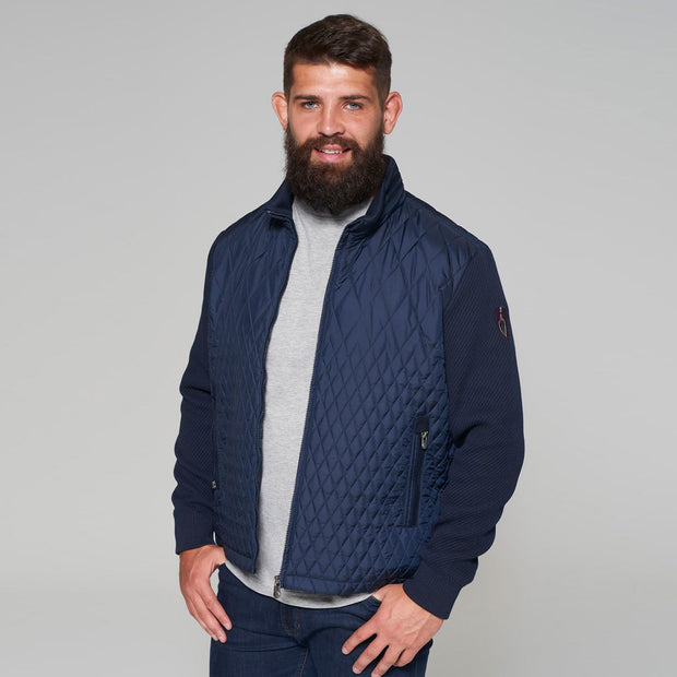 Yachting Quilted Jacket with Contrast Wool Sleeves in Navy Blue - zip up front