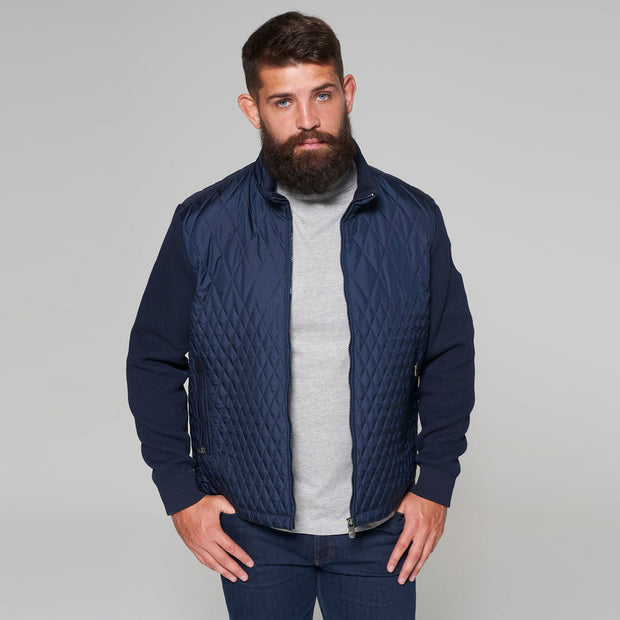 Yachting Quilted Jacket with Contrast Wool Sleeves in Navy Blue - zipped up