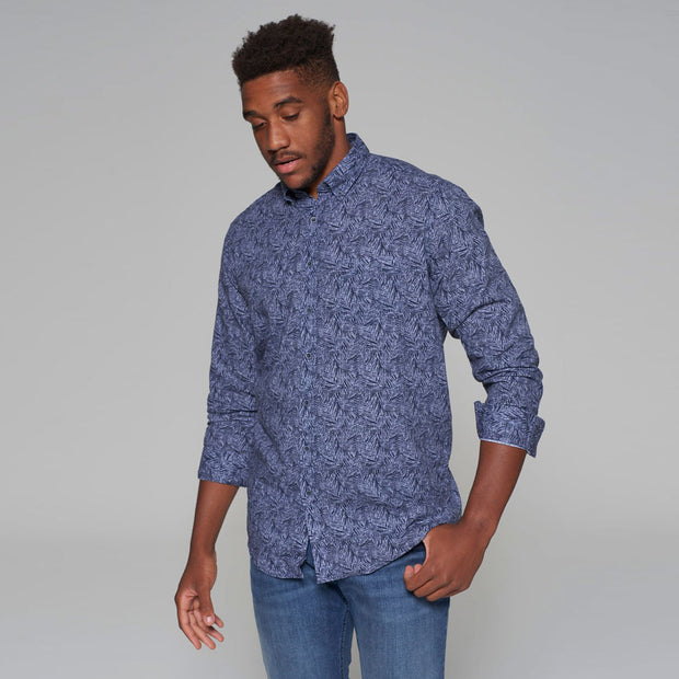 Casa Moda - Leaf Print Linen Long Sleeve Shirt in Blue - wide front view