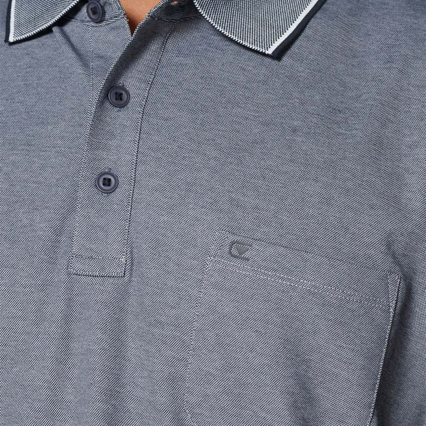 Casa Moda navy blue easy care polo shirt - close up view