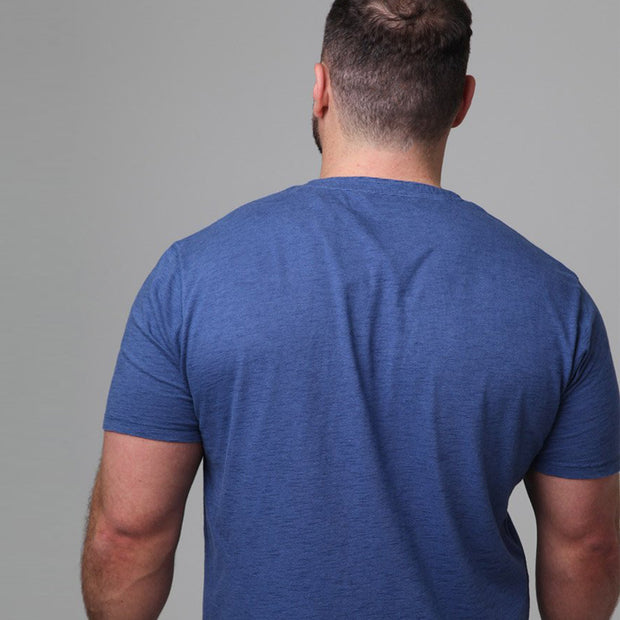 Casa Moda - Lightweight Button T-Shirt in Blue - side view