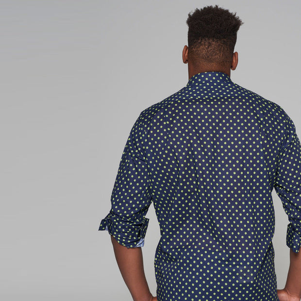 Casa Moda - Navy Blue Long Sleeve Shirt with Neon Yellow Polka Dots - side view