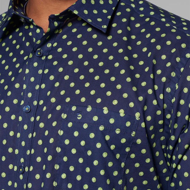 Casa Moda - Navy Blue Long Sleeve Shirt with Neon Yellow Polka Dots - front view