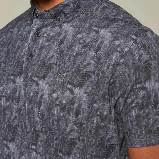 Fortmens model wearing Campione Floral Print Polo Shirt- close up