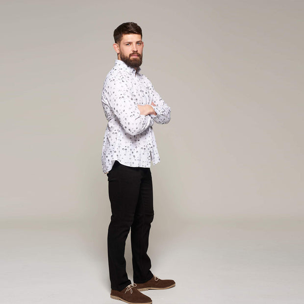 Fortmens model wearing a Campione Linen bubble printed long sleeve shirt - full body view