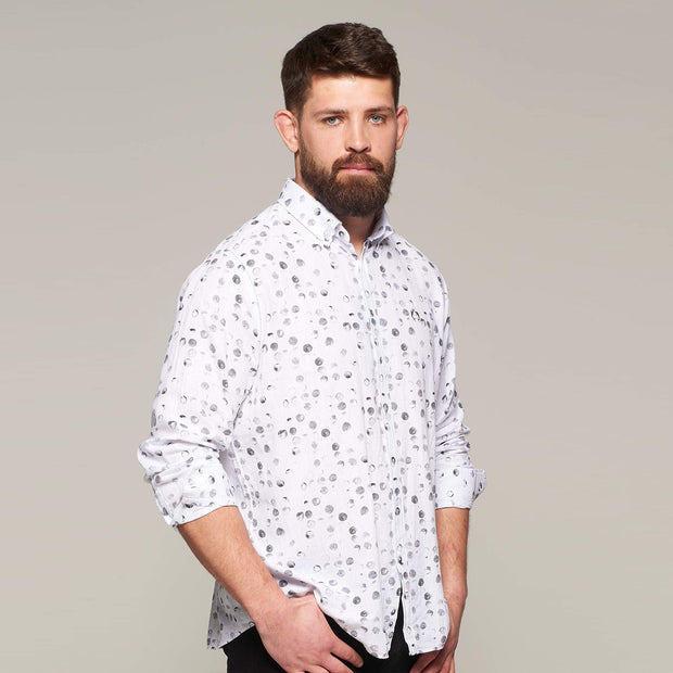 Fortmens model wearing a Campione Linen bubble printed long sleeve shirt - front view rolled up sleeves
