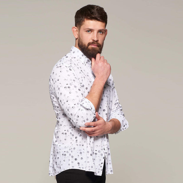 Fortmens model wearing a Campione Linen bubble printed long sleeve shirt - front view