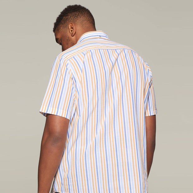 Fortmens model wearing an orange stripe short sleeve shirt from Campione - back view