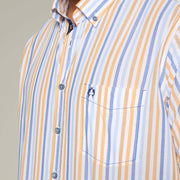 Fortmens model wearing an orange stripe short sleeve shirt from Campione - close up