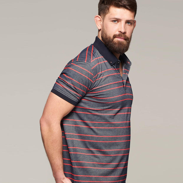 Fortmens model wearing Campione Stripped Navy Polo Shirt - back view