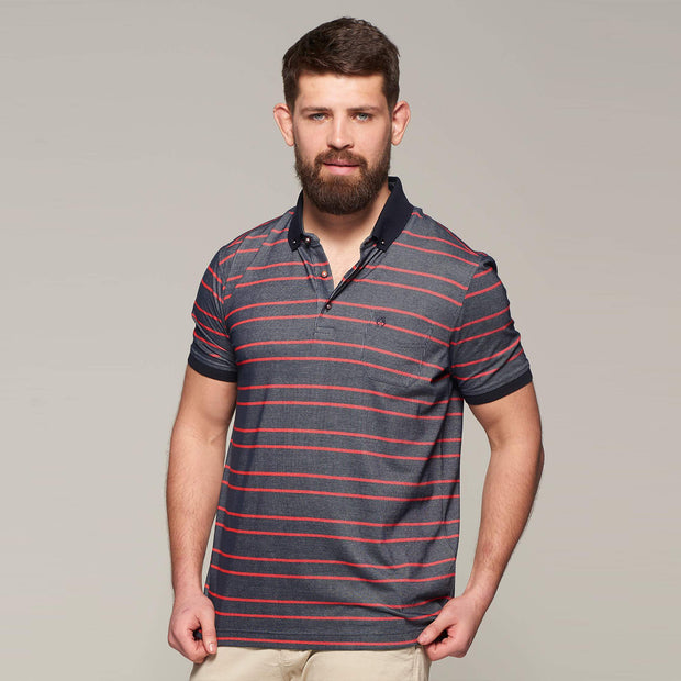 Fortmens model wearing Campione Stripped Navy Polo Shirt - front view