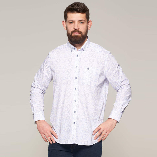 Fortmens model wearing Campione White Circular Pattern Long Sleeve Shirt - front view