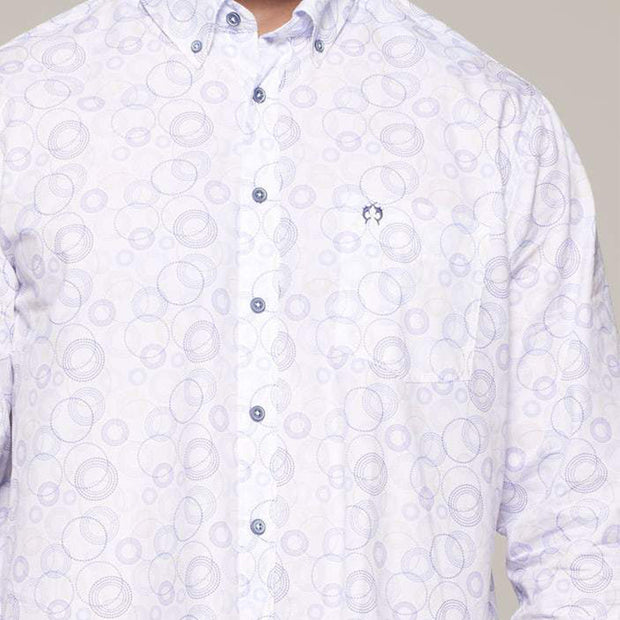 Fortmens model wearing Campione White Circular Pattern Long Sleeve Shirt - closer in view