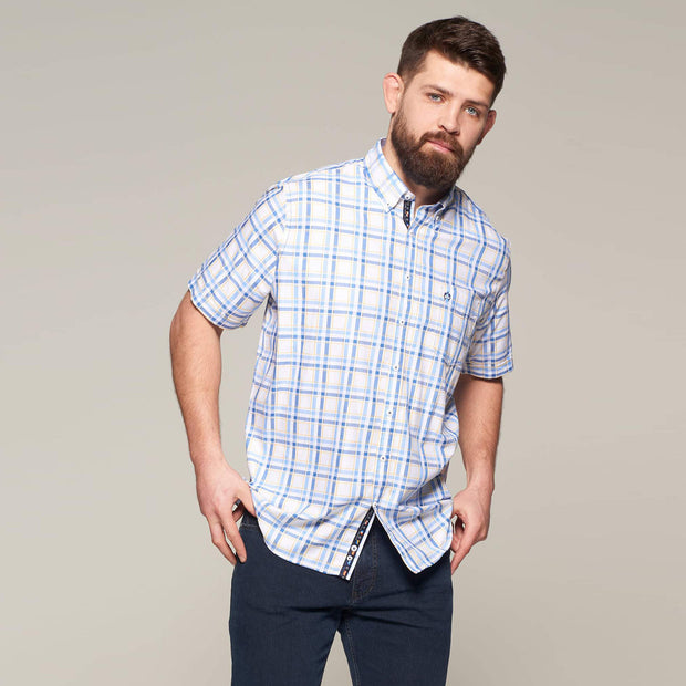 Fortmens modeling wearing a White Blue & Yellow Check Short Sleeve Shirt front view