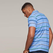 Fortmens model wearing a Casa Moda Striped Easy care polo shirt - back view