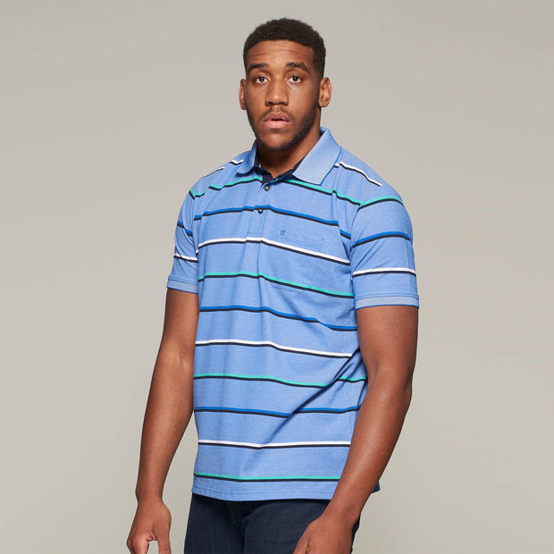 Fortmens model wearing a Casa Moda Striped Easy care polo shirt - front view