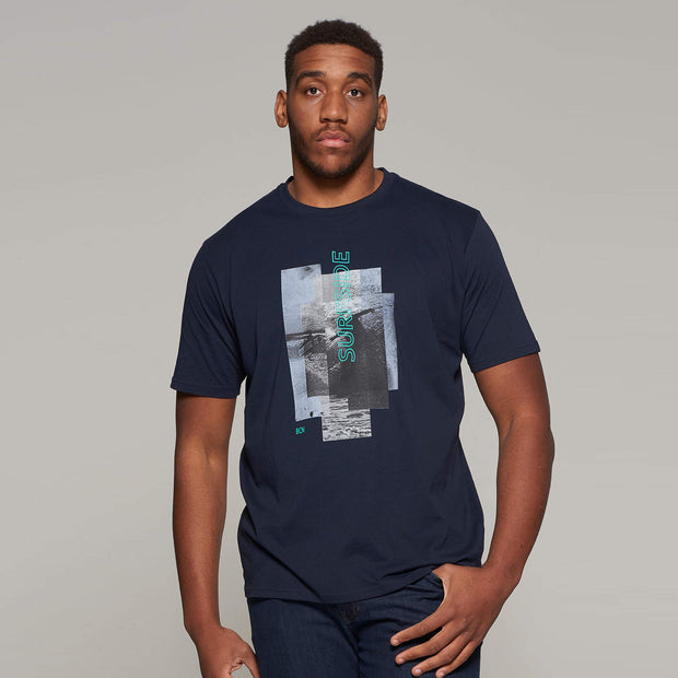Fortmens model wearing Casa Moda printed Sunset Coast T-Shirt in Navy Blue - front view