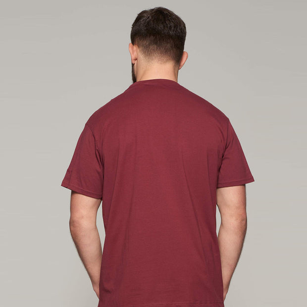 Fortmens model wearing Bordeaux Red Round Neck T-Shirt - Front view
