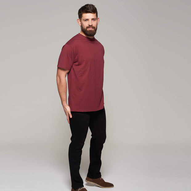 Fortmens model wearing Bordeaux Red Round Neck T-Shirt - Front view closer up