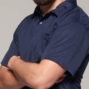 Fortmens model wearing North 56°4 cool effect polo shirt navy blue - back view