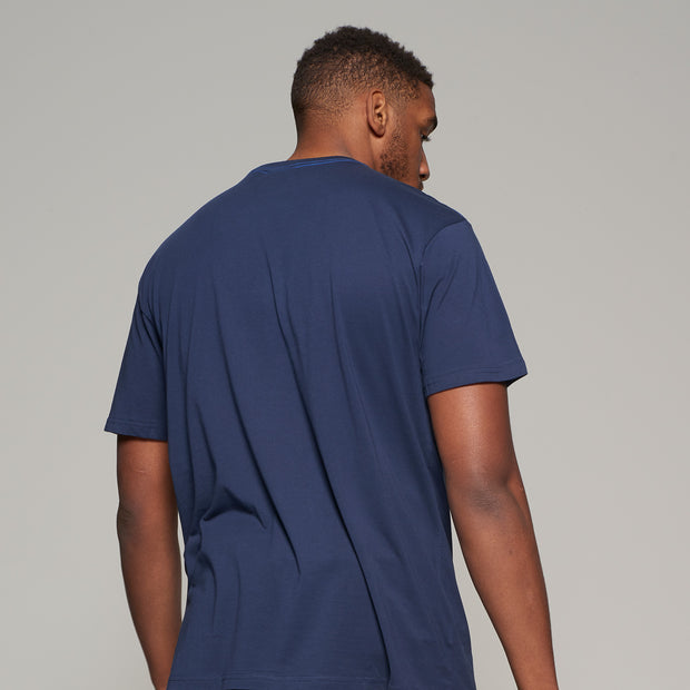 Fortmens model wearing North 56°4 Elements T-Shirt- Navy Blue - Back view
