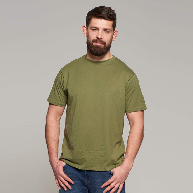 Fortmens model wearing North56 Olive Green Round Neck T-Shirt - Back