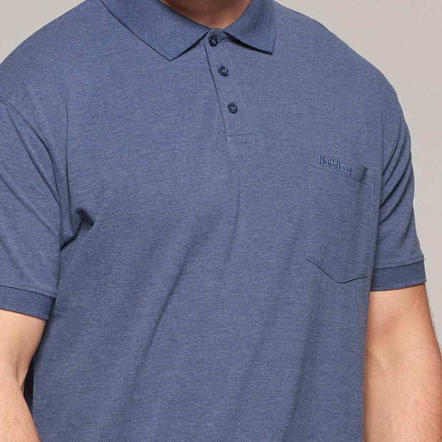 Fortmens model wearing North 56°4 polo shirt in blue with chest pocket - front view