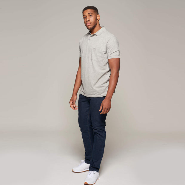 Fortmens model wearing a North 56°4 - Polo Shirt with Pocket in Grey - full body