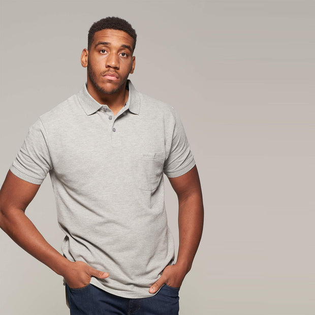 Fortmens model wearing a North 56°4 - Polo Shirt with Pocket in Grey - front view