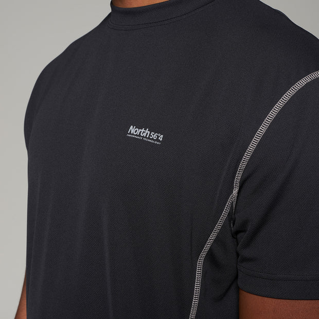 Fortmens model wearing North 56°4 SPORT Sport Tech T-Shirt in Black - close up
