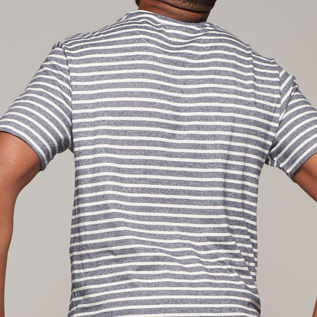 Fortmens model wearing North 56°4 - Sustainable Organic Striped T-Shirt - back view