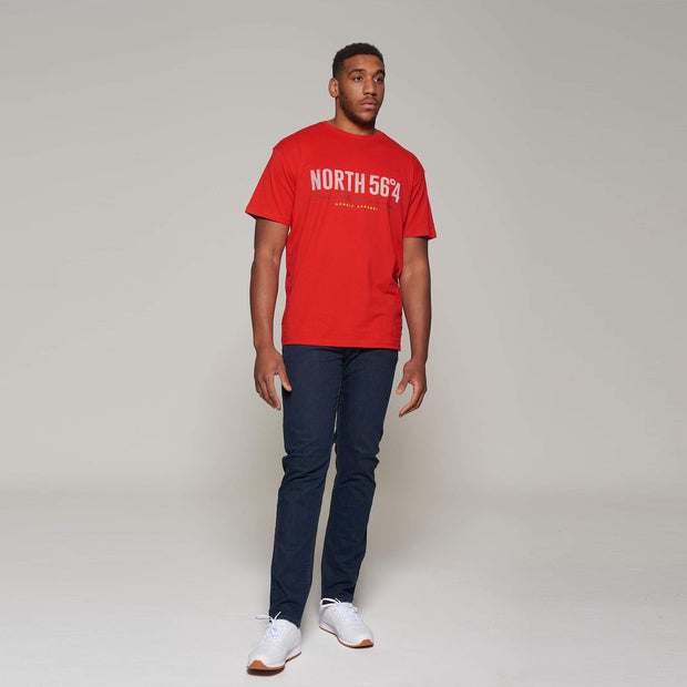 Fortmens model wearing - North 56°4 Elements - T-Shirt - Red - Front view