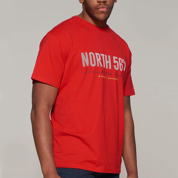 Fortmens model wearing - North 56°4 Elements - T-Shirt - Red