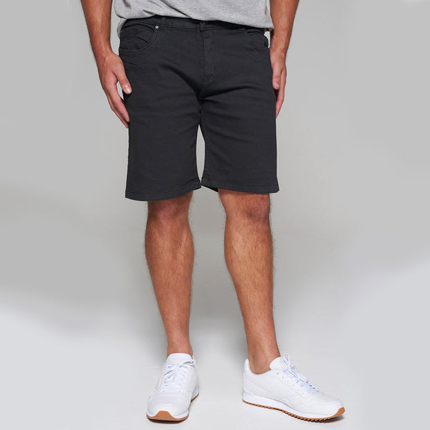 Replika 5 pocket Shorts in Black - front view