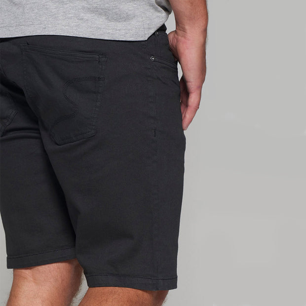 Replika 5 pocket Shorts in Black - back view close up