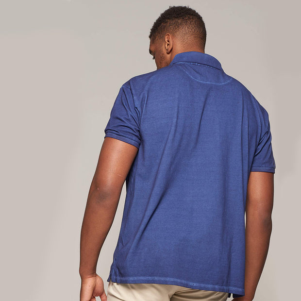 Fortmens model wearing Replika Cool Dyed Polo Shirt - back view