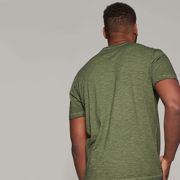 Fortmens model - wearing LMTD Denim Cool Dyed Fashion T-Shirt - Olive Green - Back