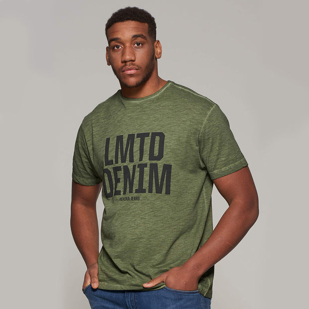 Fortmens model - wearing LMTD Denim Cool Dyed Fashion T-Shirt - Olive Green - Front view