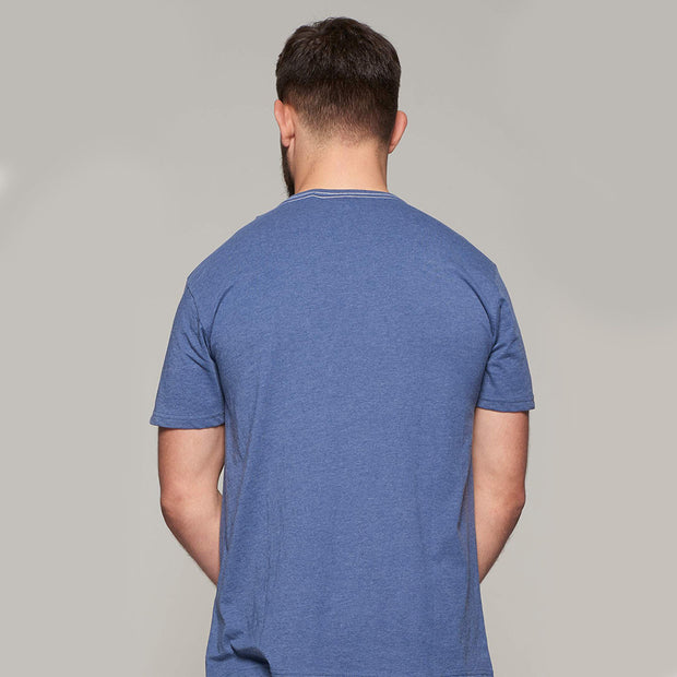 Fortmens model wearing Replika The Original Printed T-Shirt in Blue back view