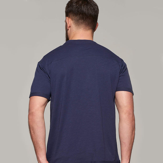 Fortmens model wearing Replika Jeans Print T-Shirt - Navy Blue - back view