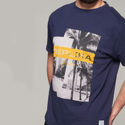 Fortmens model wearing Replika Jeans Print T-Shirt - Navy Blue - close up