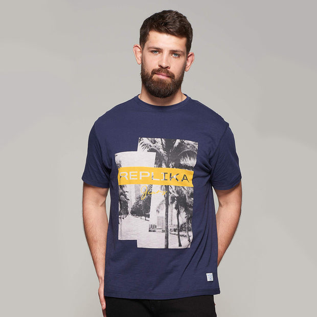 Fortmens model wearing Replika Jeans Print T-Shirt - Navy Blue - front view