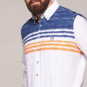 Fortmens model wearing a Multi-Coloured Regatta Pattern Linen Long Sleeve Shirt - front view to the side