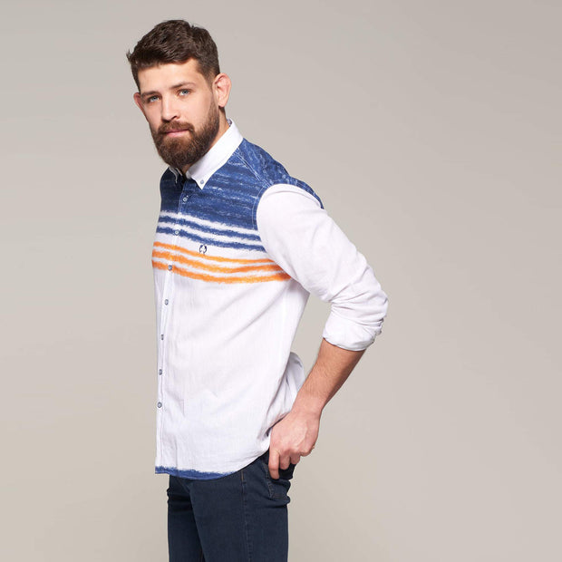 Fortmens model wearing a Multi-Coloured Regatta Pattern Linen Long Sleeve Shirt - closer in view