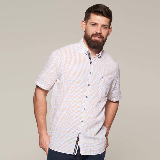 Fortmens modeling wearing Campione Orange Check Short Sleeve Shirt - front view