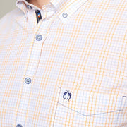 Fortmens modeling wearing Campione Orange Check Short Sleeve Shirt - full body up
