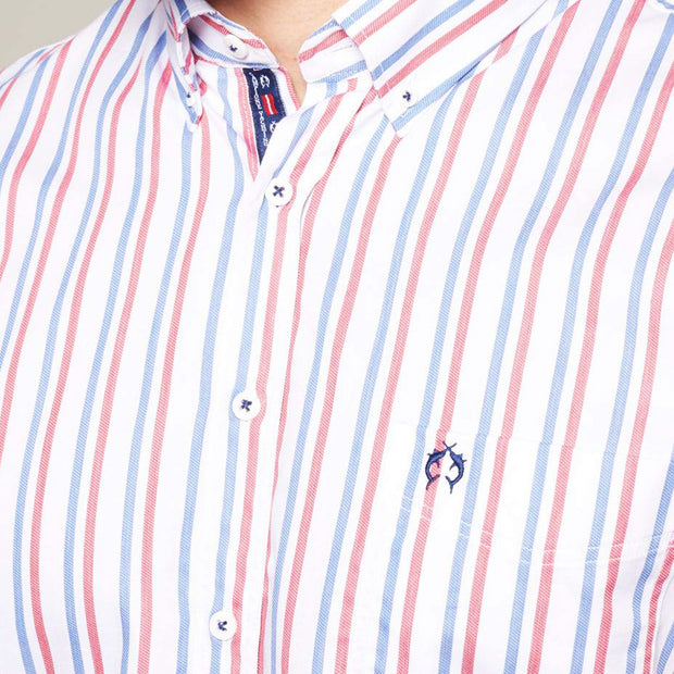 Fortmens model wearing a White Blue & Red Sailor Long Sleeve Shirt front view