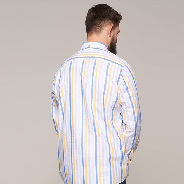 Fortmens modeling Campione White Blue & Yellow Striped Long Sleeve Shirts  - back view